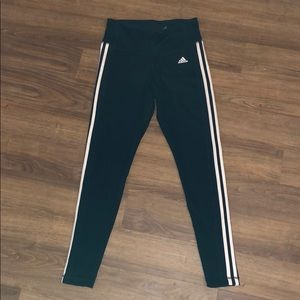 black adidas leggings with stripes on side